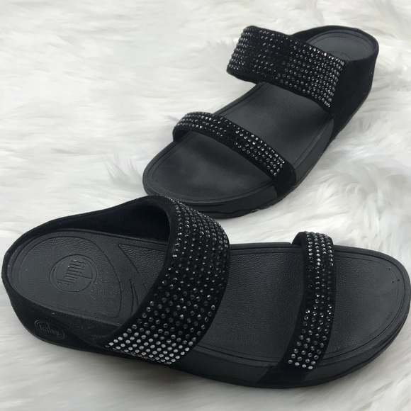 dcb4e445c102 Fitflop Shoes - FitFlop Flare Black Slide Suede Sandal Size 11